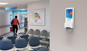Digital sanitiser station in waiting room