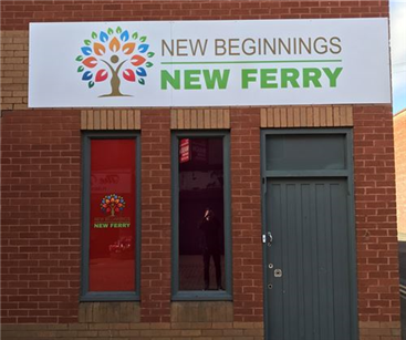 Outdoor sign and vinyl window graphics for New Beginnings