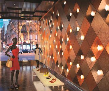 Metallic architectural finish in retail shop