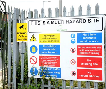 Multi-hazard health and safety sign