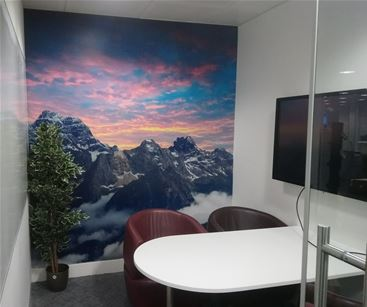 Custom wallpaper for small office space