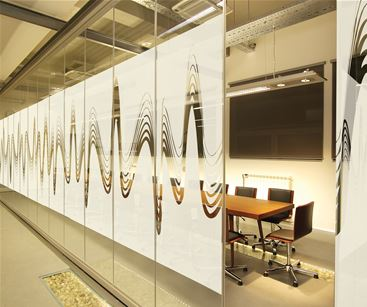 Frosted window vinyl for privacy in office meeting room
