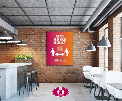 Social distancing hospitality signage
