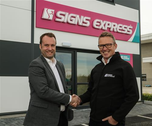 Jon Bean, Signs Express MD (Left) Welcoming  Rod Clark, Owner of Signs Express (Salisbury) (Right)