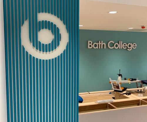 Logo board and built up illuminated Bath College sign