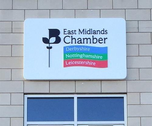 Main exterior signage for the East Midlands Chamber of Commerce