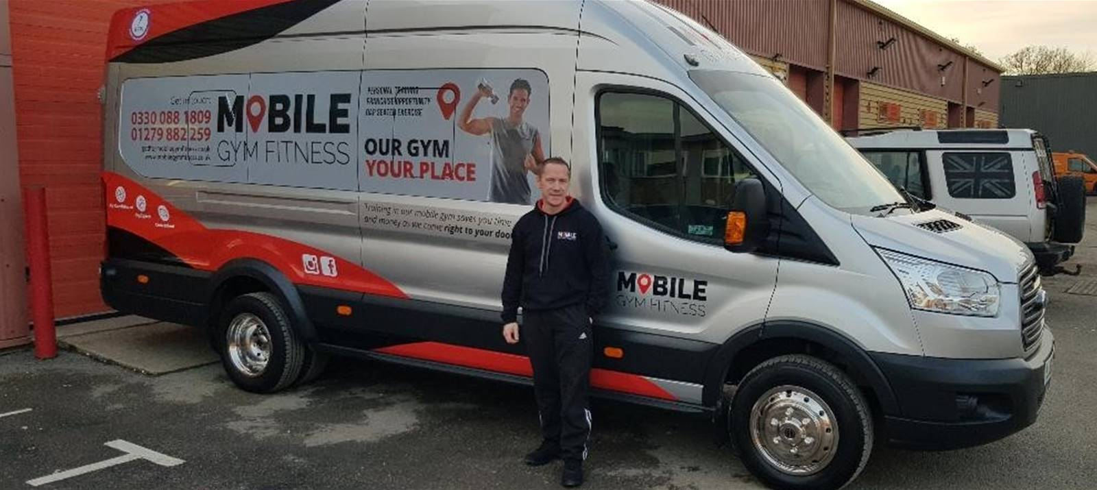 Mobile Fitness Gym owner David Hogg at Signs Express (Harlow)