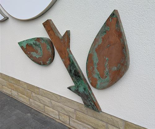 Built Up Copper with Verdigris finish on stems