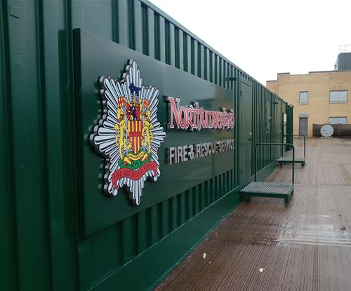 Stand-off fascia sign for Northumberland Fire & Rescue