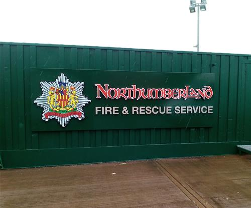Custom fascia signs for Northumberland's F&R training centre