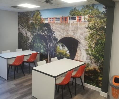 One piece feature wallpaper installed at Oakwood Hill depot for Epping Forest Council