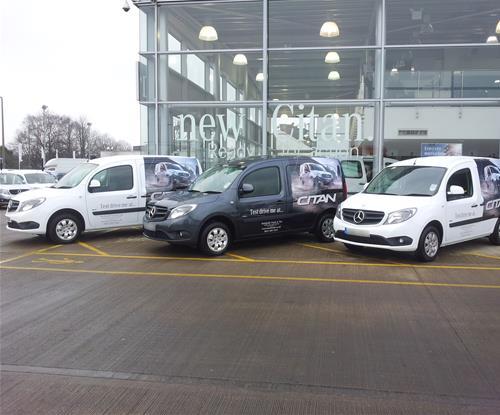 Partial vehicle wraps for Mercedes fleet campaign