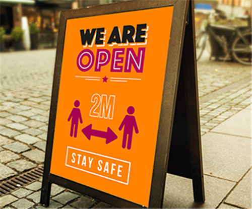 We Are Open & Social Distancing Pavement furniture