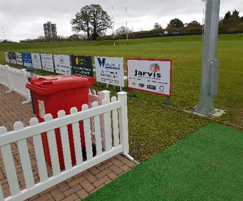 Pitch side sponsor panel & post signs at Harlow RUFC
