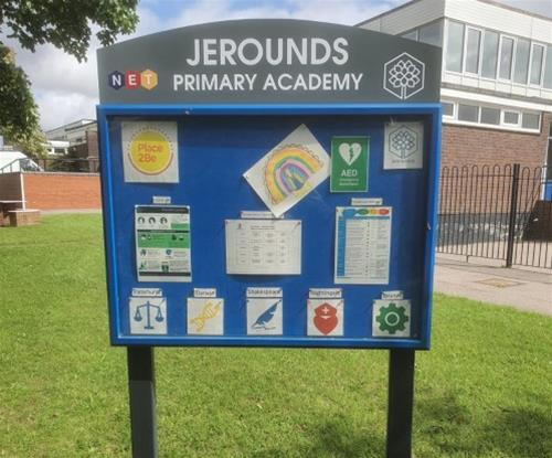 Post Mounted lockable noticeboard with school name header