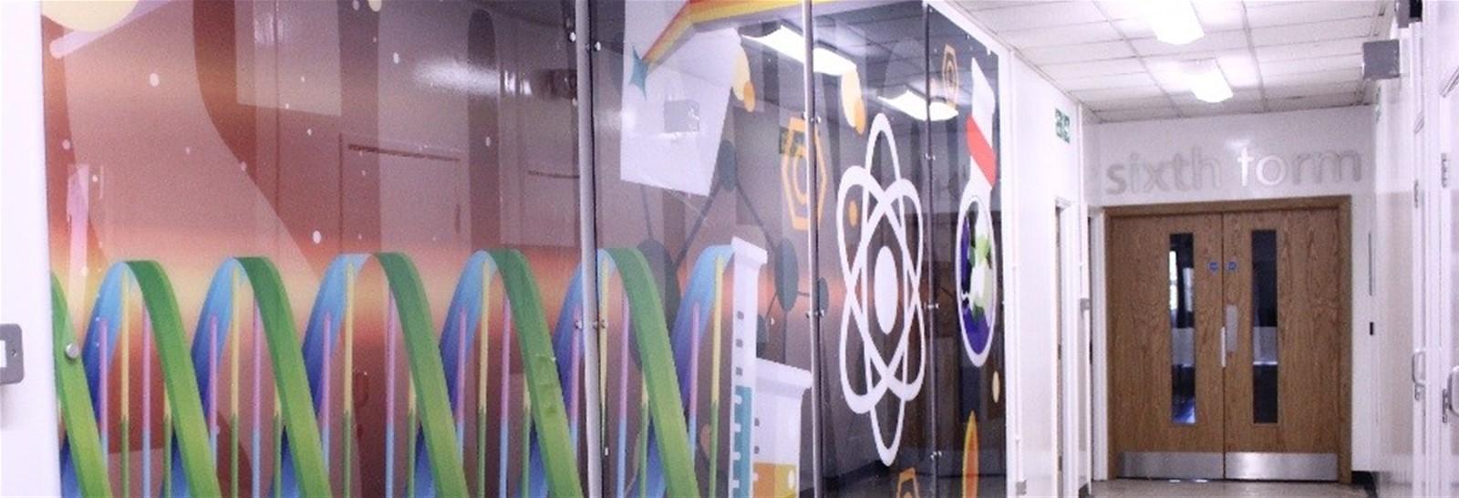 Wall panel graphics for Moor Park School