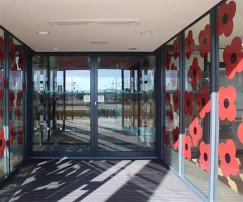 Remembrance Day artwork at Harlow Civic Centre