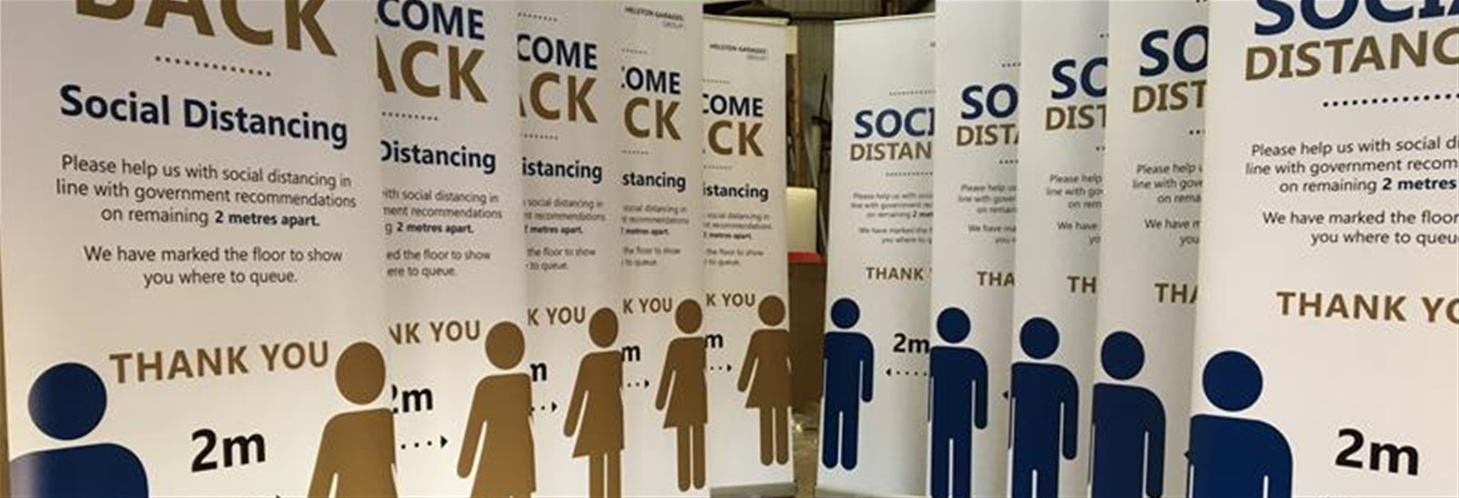 Roller banners with coronavirus messaging