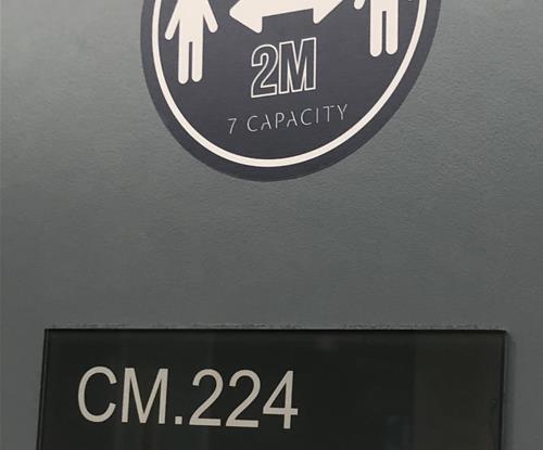 Room capacity stickers