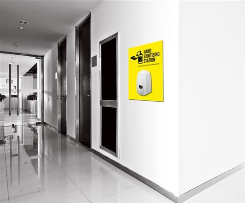 Hand sanitiser location board