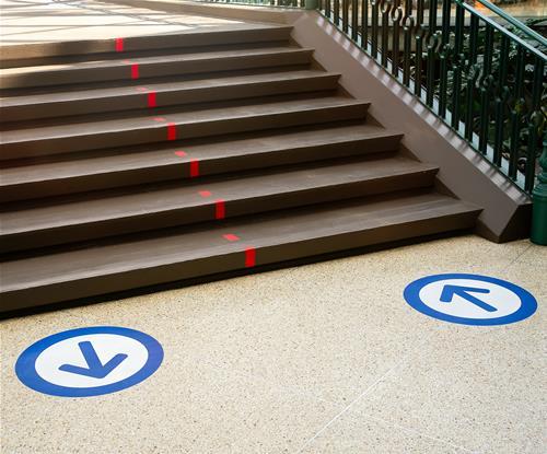 One-way system self-adhesive vinyl floor graphics