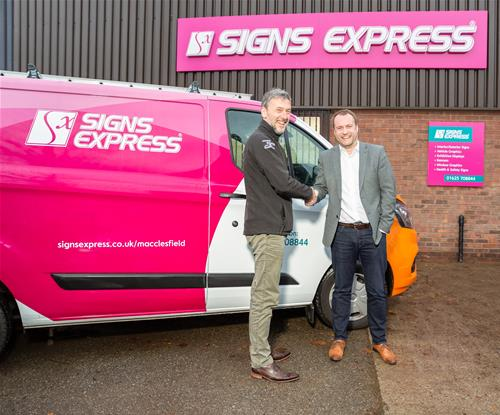 Macclesfield Signs Express Owner,Mark Coyle with Signs Express MD, Jonathan Bean