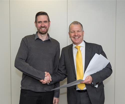 Signs Express Sales Manager Andy Barker with Overbury's Paul Brazier