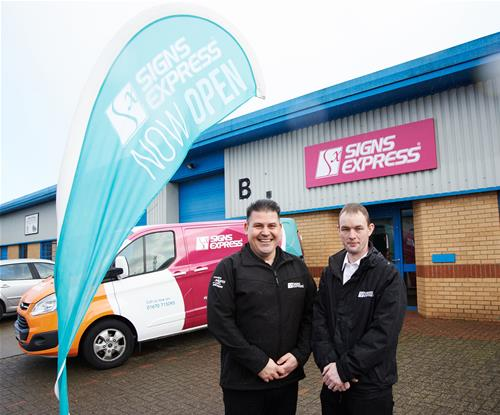 New owner Adam Greaves (right) with Managing Director of the Signs Express Franchise Craig Brown (left)