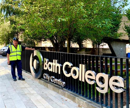 Bath College City Centre built up letters fixed on railings