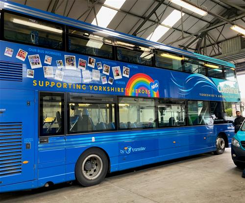 Bus graphics applied for Transdev to support NHS