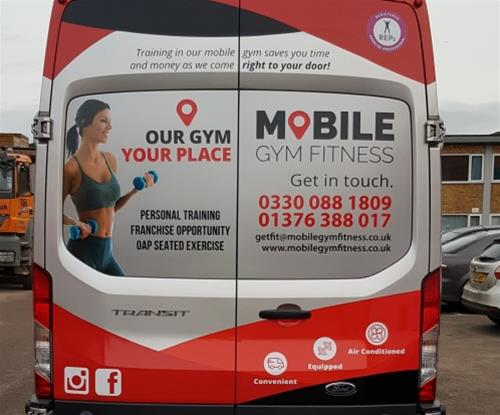 Rear of Mobile Fitness Gym - wrap and contravision