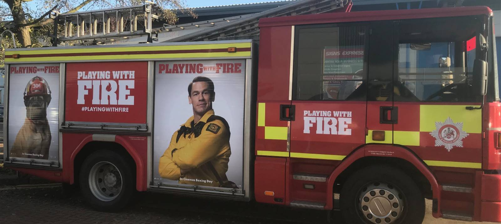 Vehicle graphics on fire engine