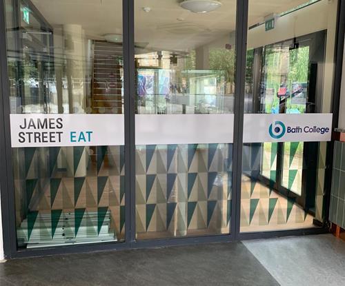 Window graphics on sliding doors at Bath College